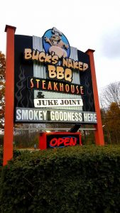 bucks naked bbq sign.